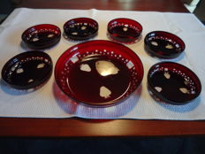Bowl set, 7 pieces, cut Bohemian crystal, cranberry-ruby red