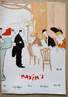 Great lot of 5 menus of great french restaurants: Maxim's, 3 x Le Grand Véfour, Ledoyen