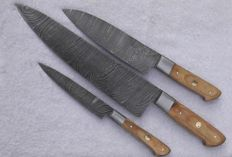 Set of three handcrafted Damask knives - 200 + layers damask steel