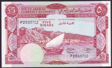 Yemen Dem. Rep. - 5 dinars ND(1967) and 500 fils ND(1984) - Pick 4b and 6