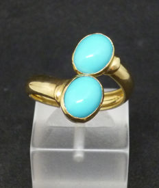 Gold k14 Ring with turquoise (paste) - size 13