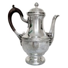 Solid silver jug Louis XV style, hallmark Minerva, France around 1888-1914