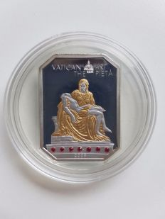 "Cook Islands, 5 dollar, 2009, ""Vatican Art, The Pietà"", with rubies, 25 g, silver"