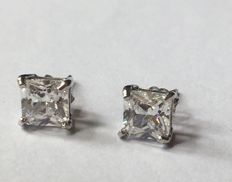14K white gold stud earring set with created moissanites;  Length : 13mm x 6mm