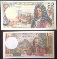 France - lot de 6 billets français