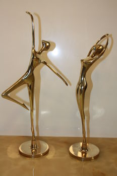 Two artistic ballerina figurines in art deco style