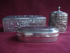 Three Douwe Egberts silver plated boxes, marked H H, 1960/1970