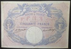 France - 2 currency notes 50 and 500 frs  Blue and Pink of 1926 and 1933