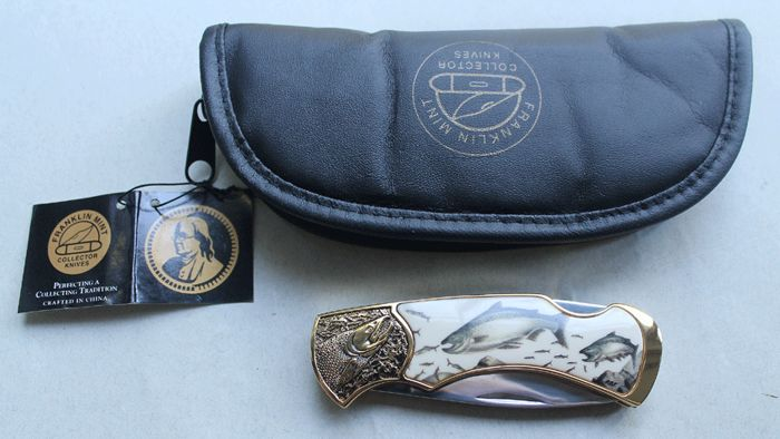 "Franklin MInt - Pocket knife ""American Seesaibling"" - 24 karat gold-plated"