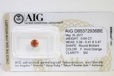 Orange Diamant - 0.64 ct - SI2