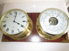 vintage German Schatz Ocean Quartz Brass Ships Clock and Barometer Set