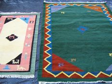 Old Gabbeh & dhurrie kilim handmade rug - India - 20th century