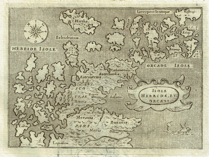 Scotland, Great Britain, Orkney and Hebrides Islands; T. Porcacchi - Isole (..) - 1572