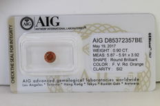 Reddish Orange Diamant - 0.90 ct - SI2