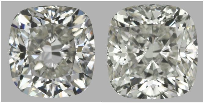 Pair of Cushion Square Modified Brilliant  HVS1- I VS2 total 1.80 ct EGL USA & IGI serial#1631-1635 -original image 10EX