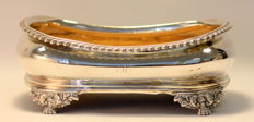 Georgian solid sterling silver dish with wooden base and initials, London 1785