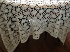 large cream crochet tablecloth or bed spread