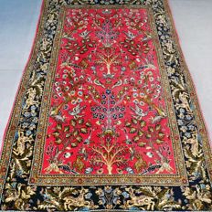 Unique semi-antique tree of life Ghom Persian carpet – 138 x 83 – 500,000 kn/m² – with certificate