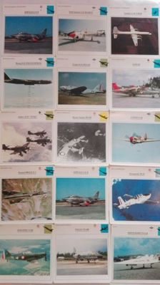 Lot of 100 aviation technical sheets: fighters, bombers, helicopters, float planes etc.