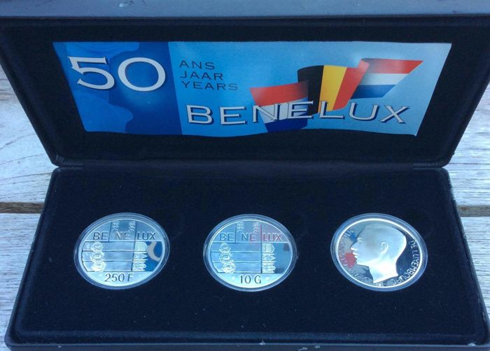 Benelux - 10 Guilder 1994 + 2x 250 Franc 1994 'Benelux set' - Silver
