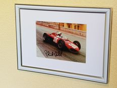 Phil Hill - World champion Formula 1 Ferrari with world famous shark nose - original framed signed photo + COA.