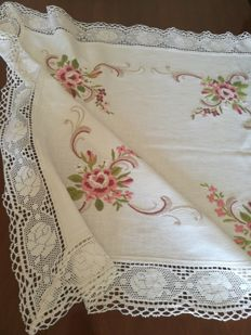 Romantic tea tablecloth with big roses - hand embroidered