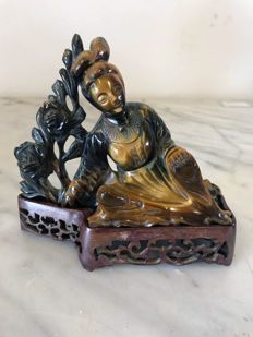 Statue in Tiger's Eye — China — Second half of 20th century