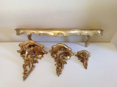 Sublime lot of four wooden, gold-plated consoles in baroque style, 2nd half of 20th century, Italy