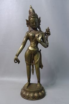 Bronze, standing Tara – Tibet/Nepal – second half of the 20th century.