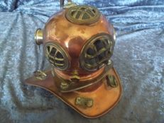 Beautiful yellow and red copper diving helmet