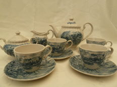 English Hand painted tea set with hunting scene, Homestead
