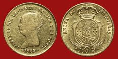 Spain – Isabel II (1833-1868), 100 reales gold coin – 1855 – Seville.