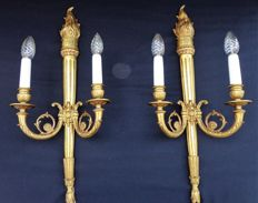 Two bronze-plated wall candle holders (wall lamp) - Louis XVI style - France - 1920/1930
