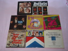 Some Of The Most Influential Rock Groups, A Superb Lot Of 8 Lp's: The Beatles, Buffalo Springfield, The Byrds, The Jimi Hendrix Experience, The Kinks, The Rolling Stones, The Who & The Yardbirds!