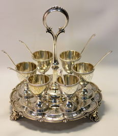 Victorian solid sterling silver egg holder set, London 1865, Edward & John Barnard
