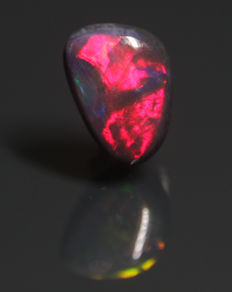 Black opal with red fire - 7x5x2mm - 0.61ct
