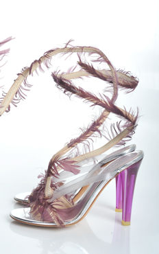Alexander McQueen - tall sandals with feather runway piece never worn