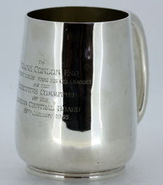 Antique Victorian solid sterling silver tankard with initials, London 1871, H J Lias & Son (Henry John Lias & Henry John Lias)