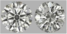 Pair of Round Brilliant Diamonds Total 1.00ct. Ideal cut  H-I SI2   IGI&EGL USA #186-1716