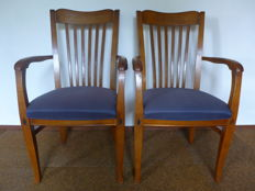 Two Neufchateau mahogany chairs in ruby blue, France, ca. 1950
