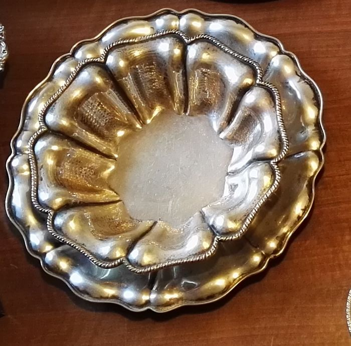 Antique silver tray + soup plate