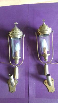 3 brass processional lanterns, of which 2 are identical