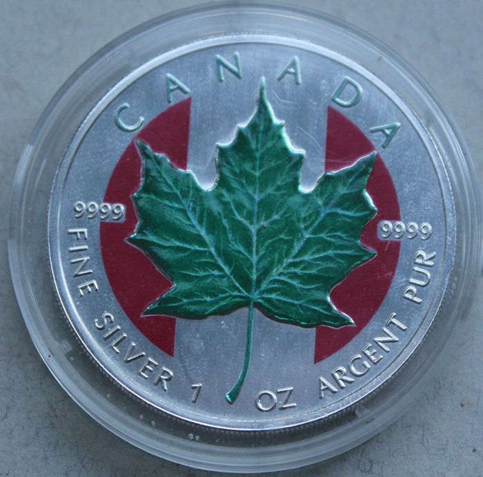 Canada - 5 Dollars 1999 'Maple Leaf' with colouration - 1 oz silver