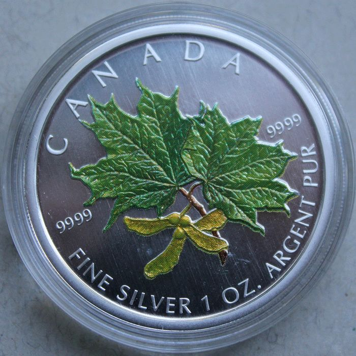 Canada - 5 Dollars 2002 'Maple Leaf' with colouration - 1 oz silver