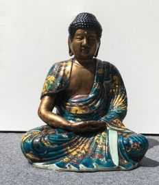 Seated Buddha in polychrome porcelain - China - Second half of 20th century.