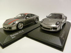 Minichamps - Scale 1/43 - Porsche 911-R (991) 2016 - Silver with red stripes & Silver with black text