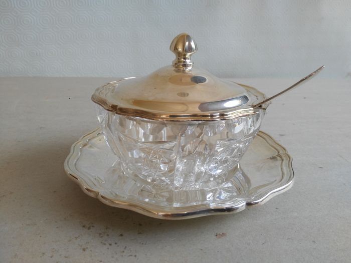 Bowl for sugar/grated cheese in silver and crystal - Italy - 20th century
