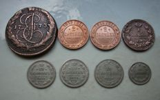 Russia – 8 miscellaneous coins 1773-1914