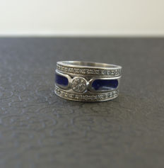 Diamond ring in three parts - Size 16.9 mm