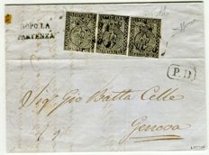 Parma 1852, 10 cent, white – Strip of 3 on letter from Parma to Genoa